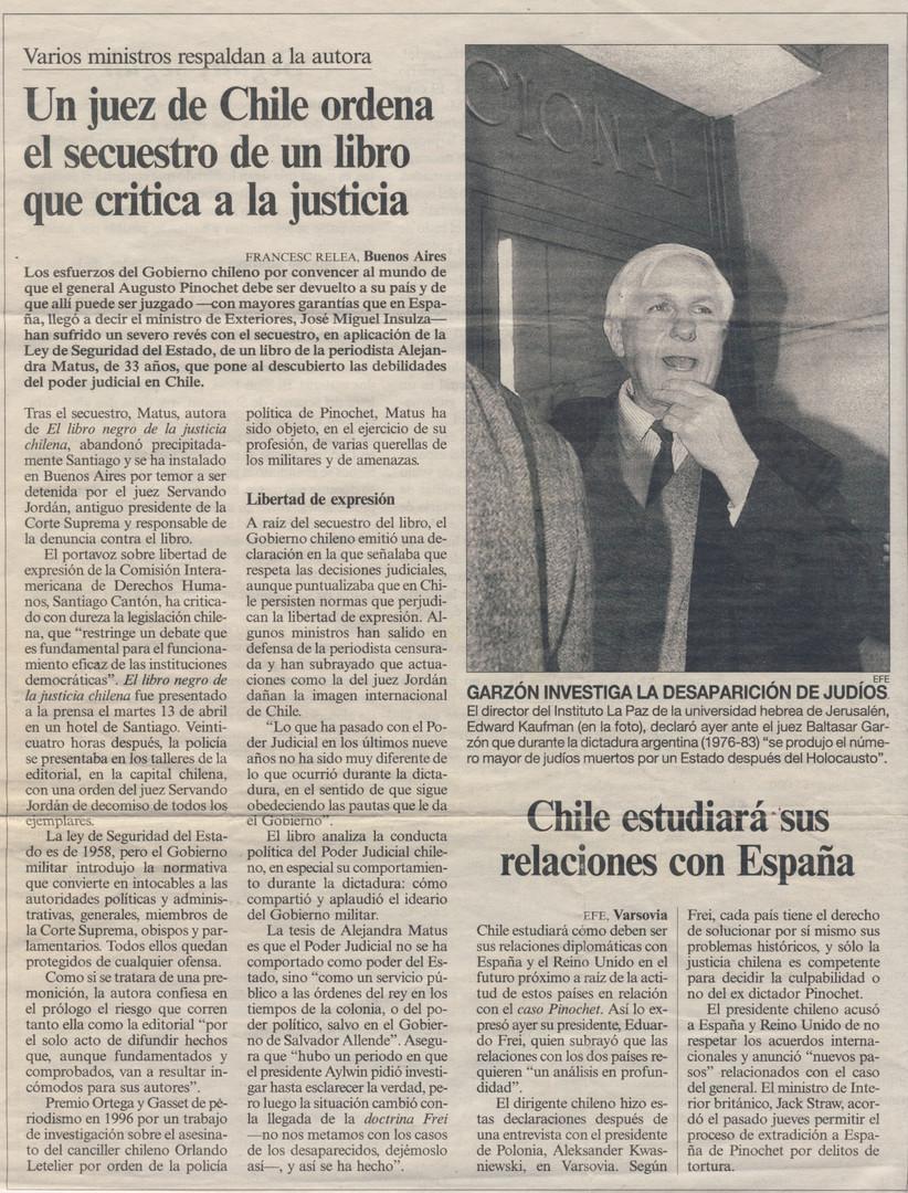 Un juez de chile ordena el secuestro de