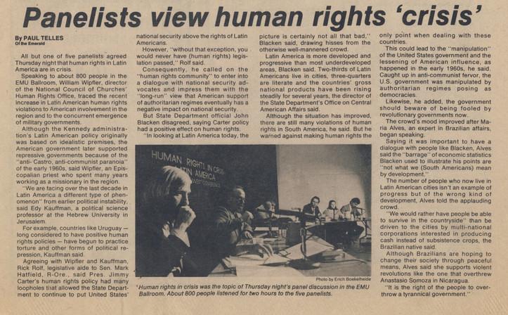 panelists view human rights 'crisis' (1)