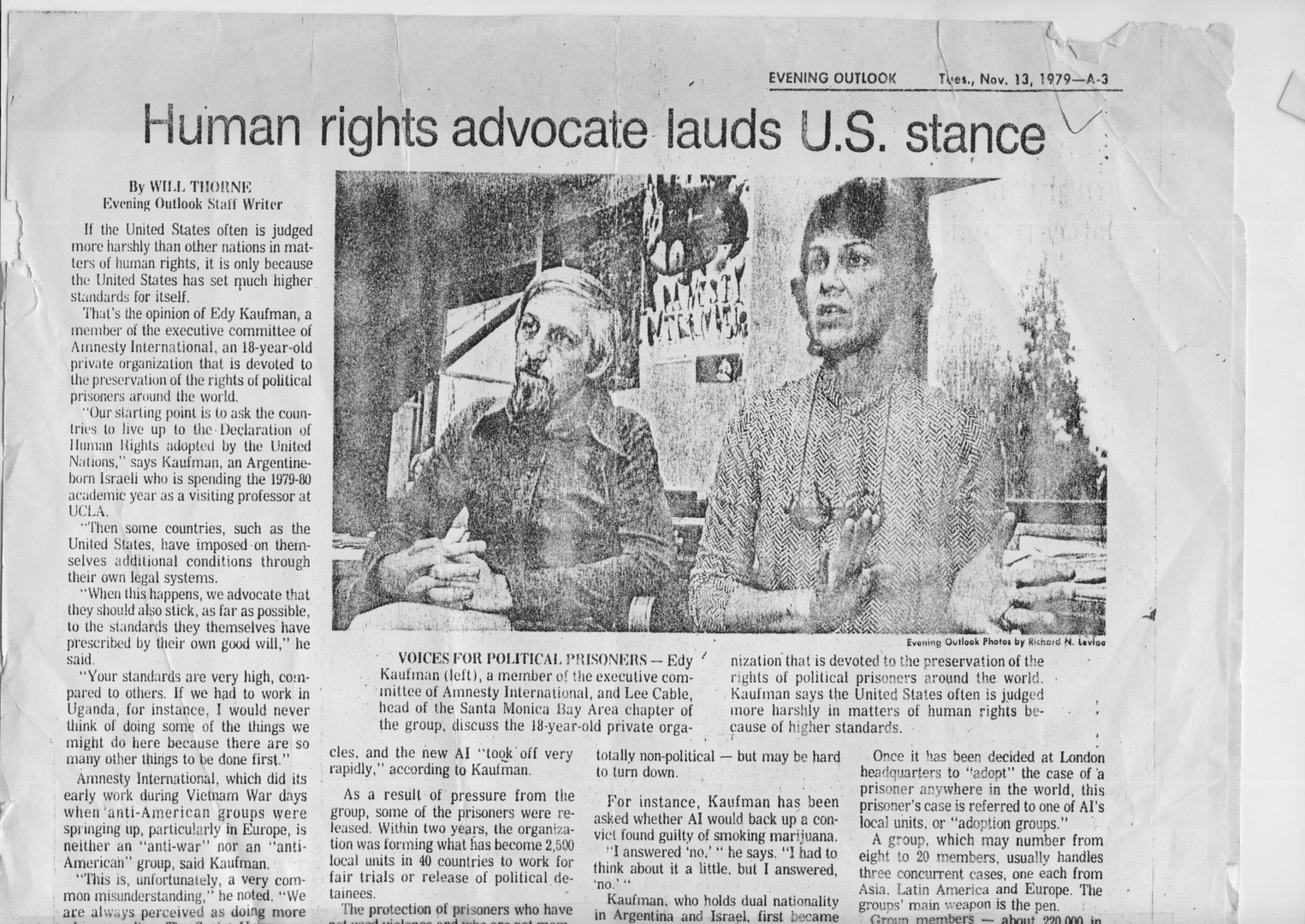 human rights advocate lauds U.S.  stance