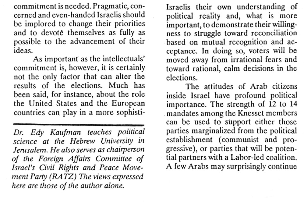 The Palestinians and the Israeli Electio