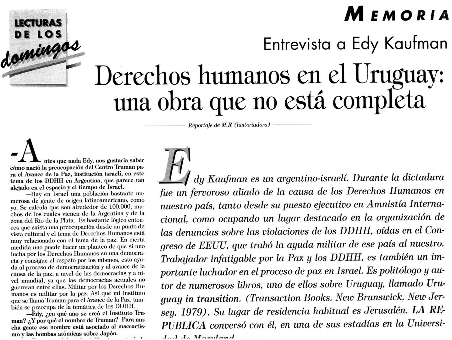 Derechos humanos en el Uruguay; una obra