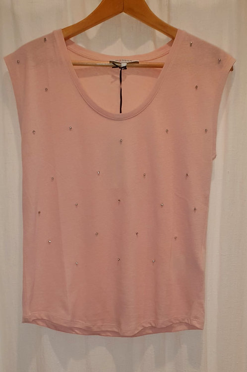 Tee shirt rose avec strass