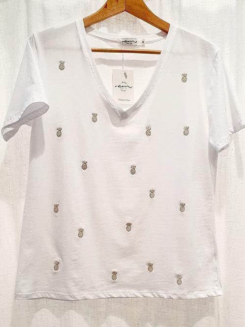 tee shirt blanc brodé ananas
