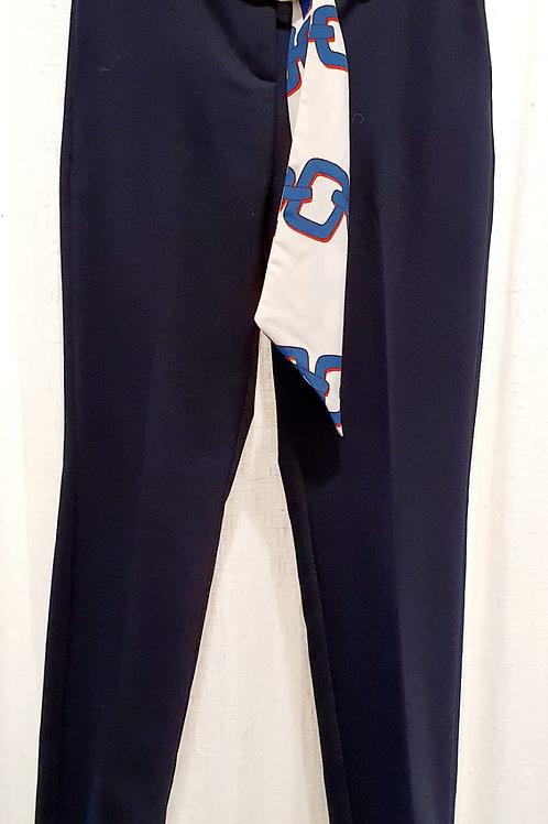 Pantalon marine ceinture imprimée