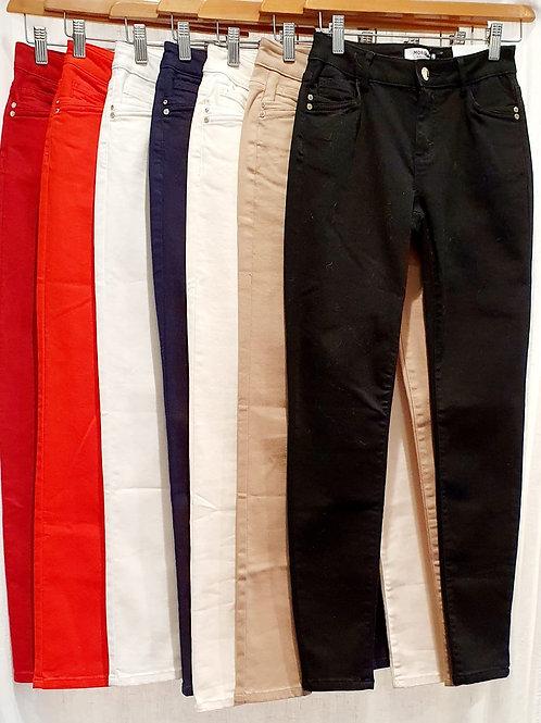Pantalon toile couleur slim