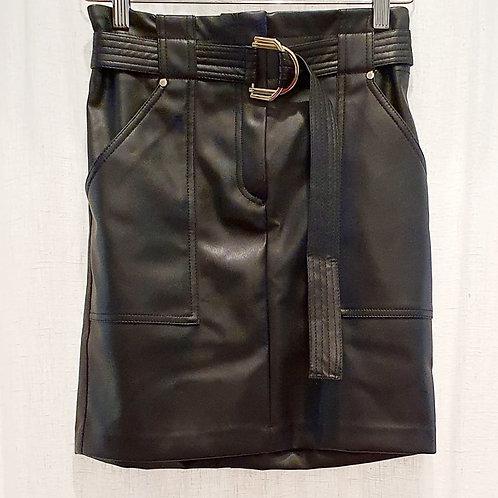 jupe faux cuir Julie noire, ceinturée