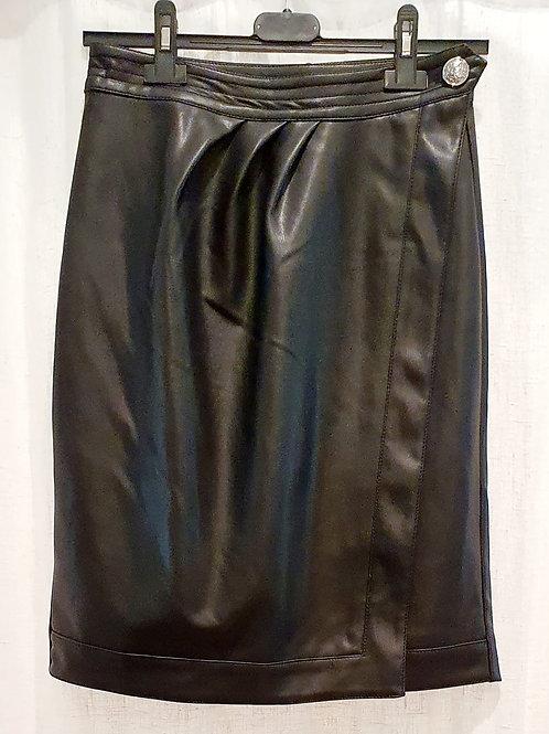 jupe crayon simili cuir noire