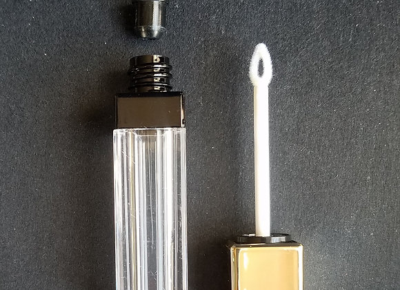 CLEARANCE! 8 ml Empty Clear Square Lip Tubes with Black Bands & Gold Wands