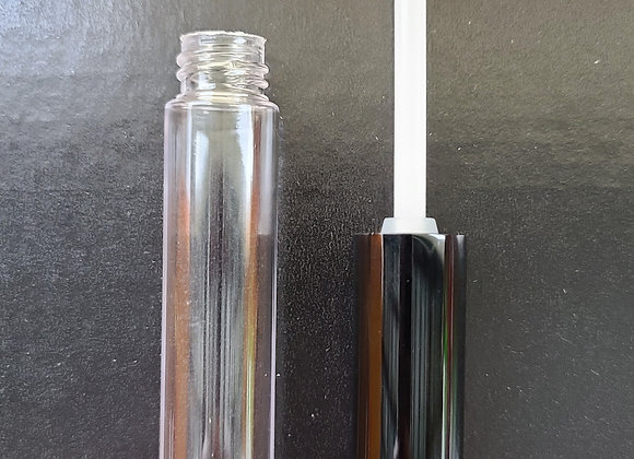 11 ml Clear Empty Lip Tubes with Shiny Black Wands