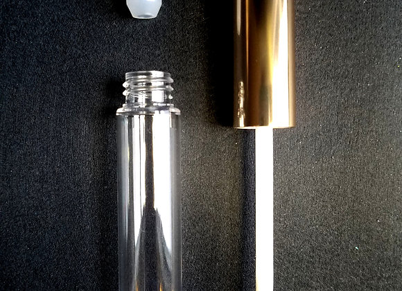10 ml Clear Empty Lip Tubes with Shiny Gold Wands