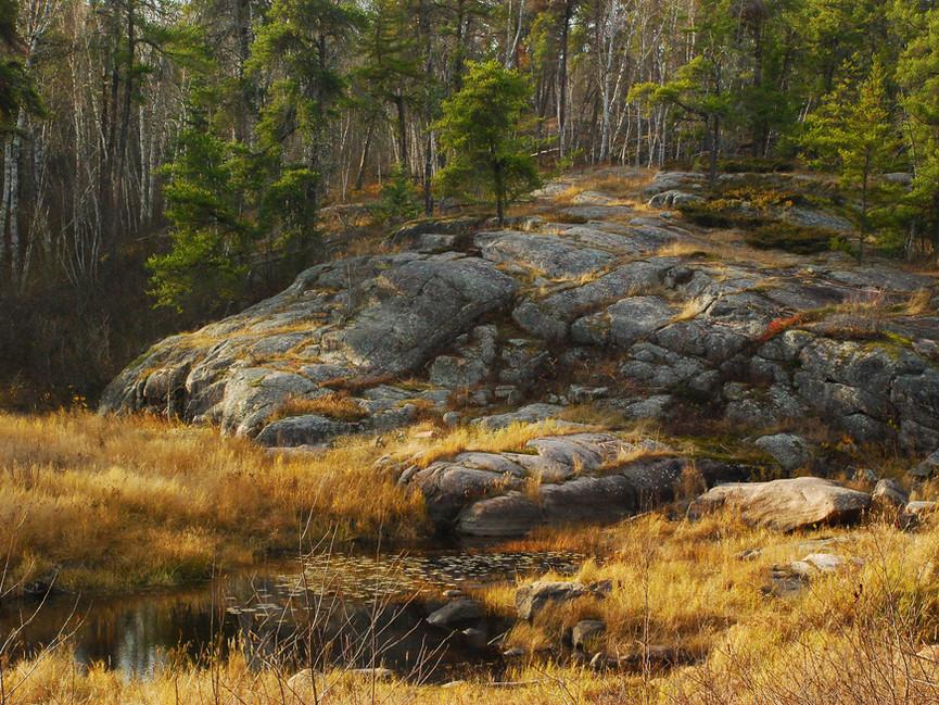 Ancient granite outcrops in Whiteshell Provincial Park, Manitoba