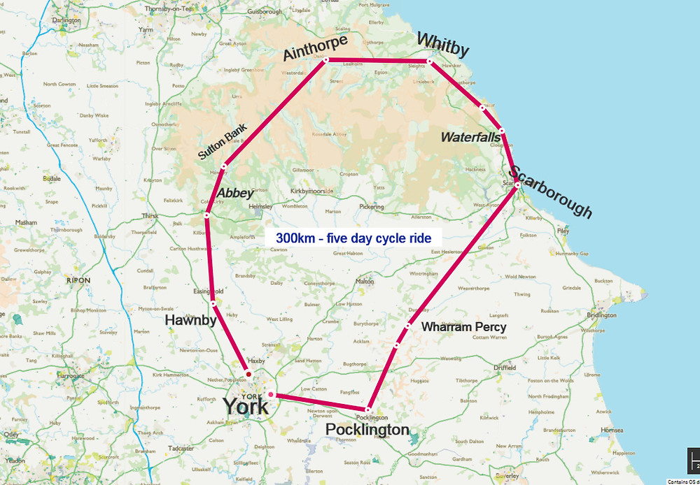 cycle route Yorkshire dales from York round trip via Scarborough