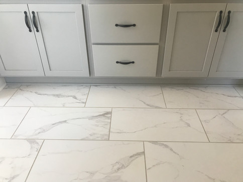 Master bathroom vanity and floor