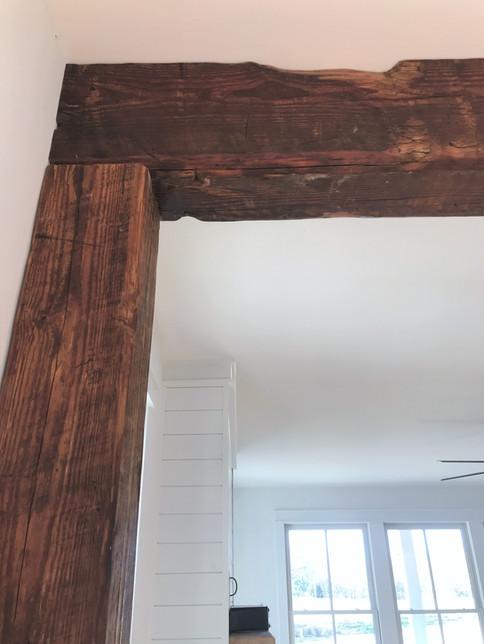 Reclaimed wood beams from a Richmond, VA tobacco warehouse