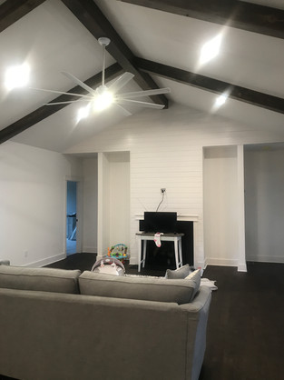 Vaulted ceiling in great room