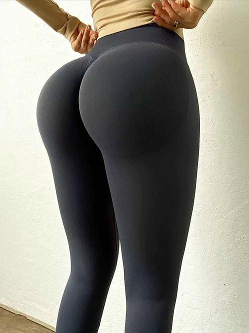 Legging Fitfordivas PUSH UP High Waist elastic Quick dry Tight black