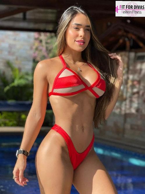 Bikini Brazil Transparencias vermelho