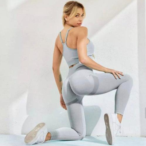 Completo Fitfordivas PUSH UP SCRUNCHY BUM fitness Seamless  light grey