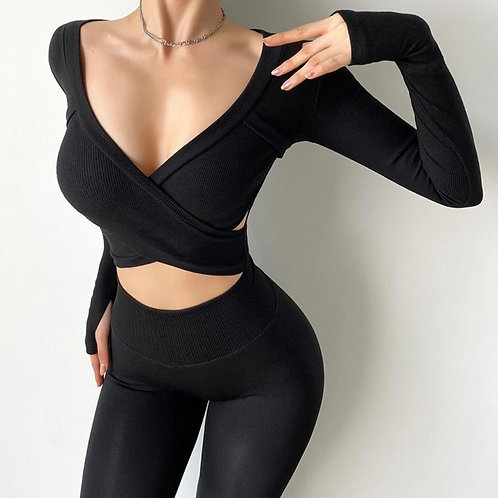 Maglia Fitfordivas long sleeves Cross black