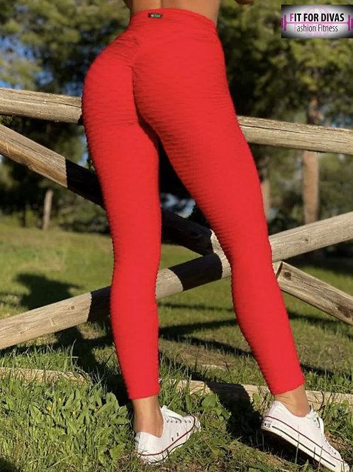 Legging Brazil PUSH UP BROCADO rojo