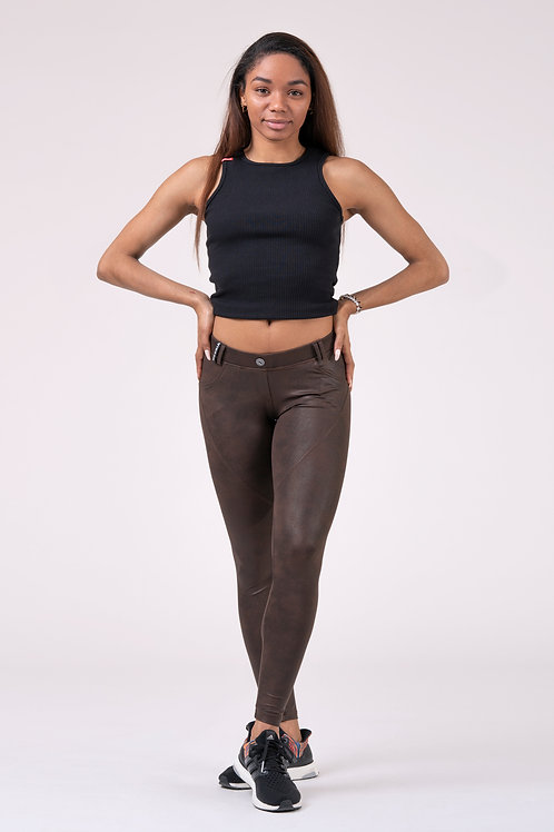 Legging Nebbia Leather Look BUBBLE BUT brown