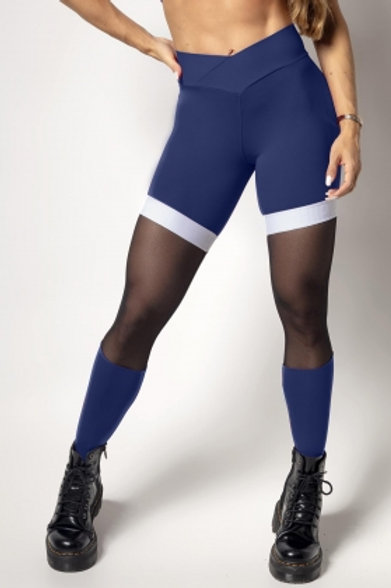 Legging Hipkini IND Fitness  azul marinho com tule