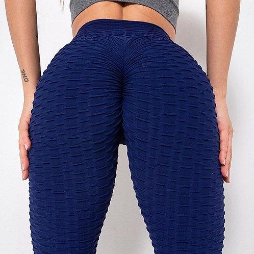 Legging Fitfordivas PUSH UP brocado 3D sexy Scrunch Butt blue