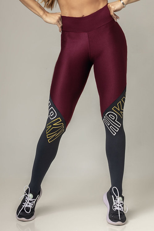 Legging Hipkini Party Fitness marsala com silk