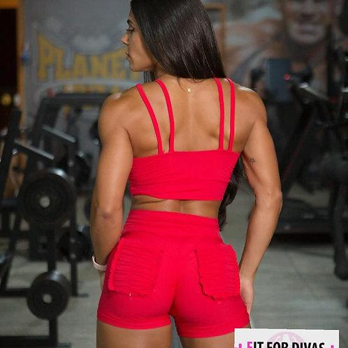 Shorts Brazil Push Up Frufru rojo