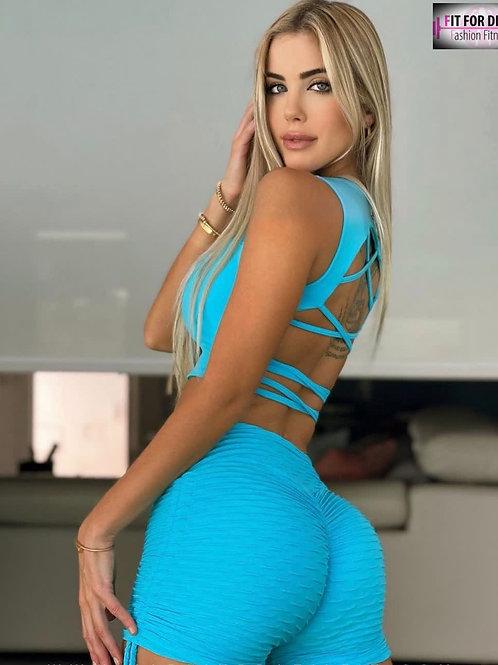 Shorts BRAZIL Push Up BROCADO azul agua
