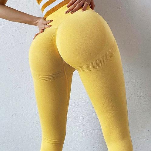 Legging Fitfordivas PUSH UP Sexy Stretch High waist Tight basic yellow