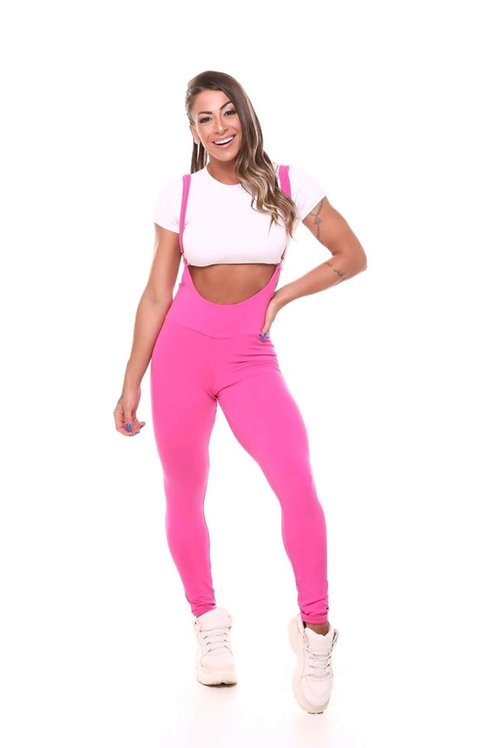 Tuta intera People fit PUSH UP Jardineira rosa pink com branco (CON TOP)