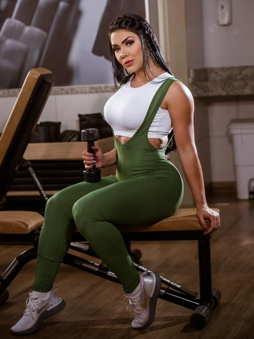 Tuta intera Fitness BOX Jardineira verde con logo CON TOP