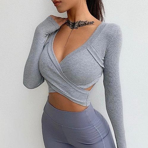 Maglia Fitfordivas long sleeves Cross light grey