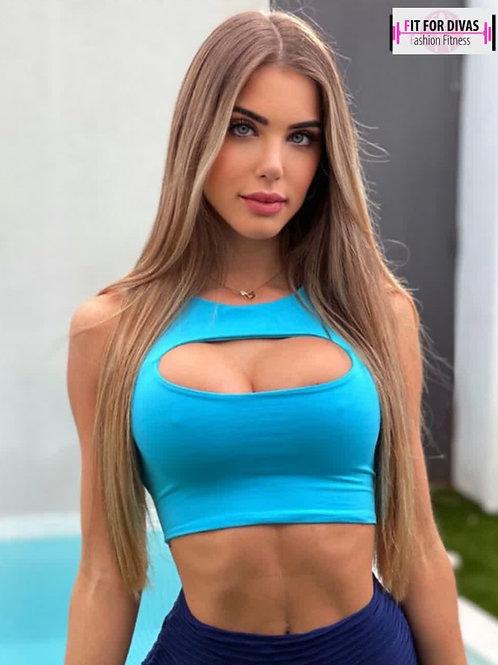 Top BRAZIL Juju azul agua