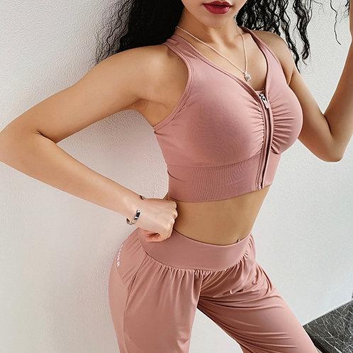 Top Fitfordivas Zipper Sexy Back Cross Bra pink