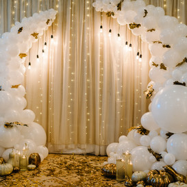 Decorated arch for wedding ceremony. Whi