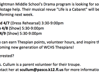 Weightman Drama Looking for Help!