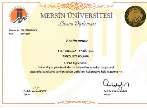 Özgün Ergin Psikoloji Lisans Diploması