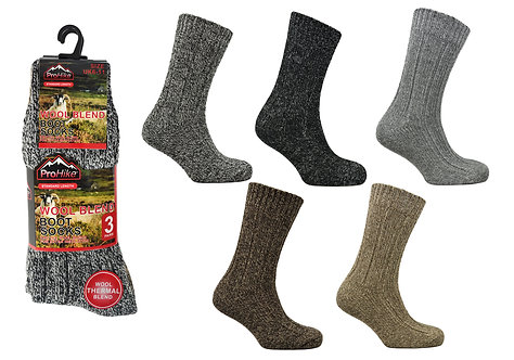 Mens 3pk Mountain Thermal Socks - Marl Colours