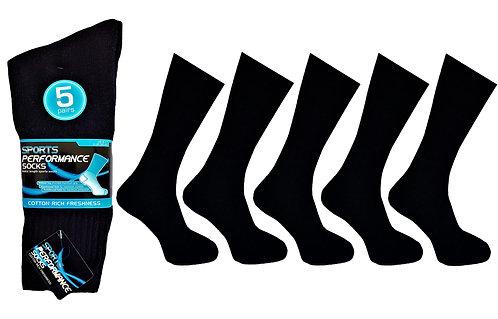 Mens 5pk Black Sports Socks