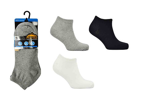 Mens 3pk Black/White/Marl Trainer Socks