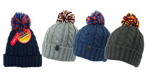 Mens 1pk HM Thermal Multi Colour Pom Pom Hat (Sherpa Lined)