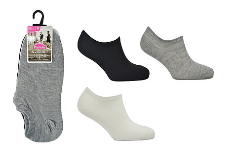 Ladies 3pk White/Black/Grey Invisible Socks