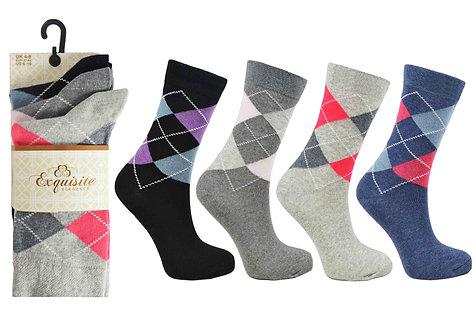 Ladies 3pk Exquisite Argyle Socks