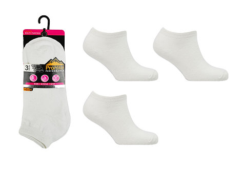 Ladies 3pk White Trainer Socks