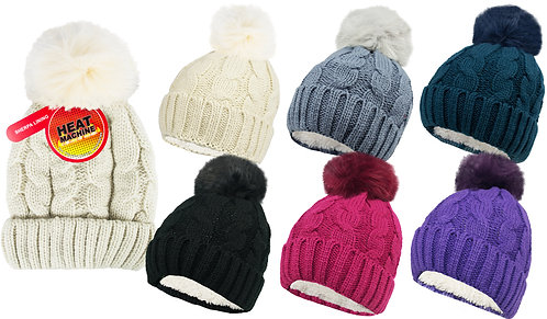 Ladies 1pk HM Self Colour Sherpa Lined Pom Pom Hat
