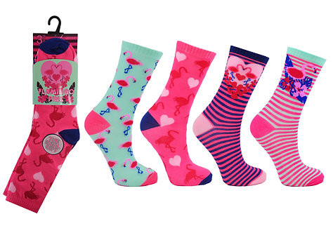 Girls 3pk Novelty Flamingo Pink Socks