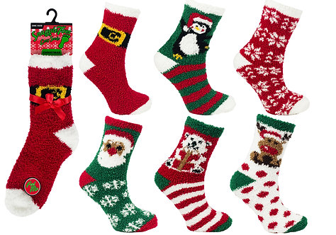 Ladies 1pk Xmas Cosy Socks