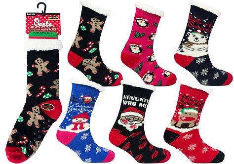 Ladies 1pk HM Xmas Fur Lined Socks